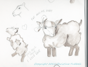 Sketchbook images of cartoon sheep